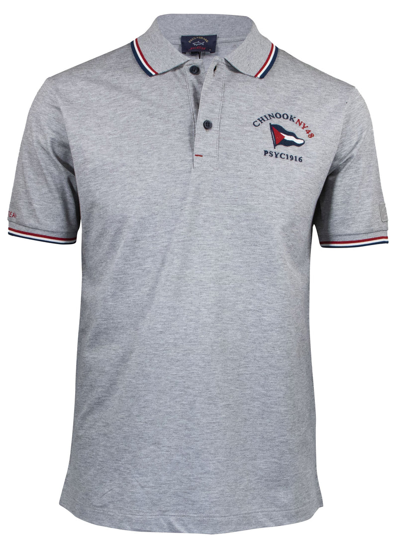 FLAG EMBROIDERED GREY COTTON POLO