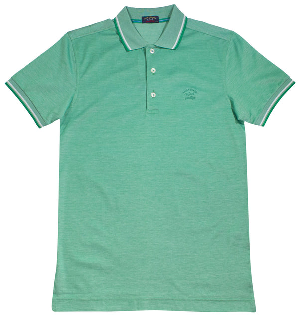 LIGHT GREEN PAUL&SHARK LOGO EMBROIDED POLO SHIRT