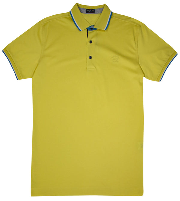 YELLOW PAUL&SHARK LOGO EMBROIDED POLO SHIRT
