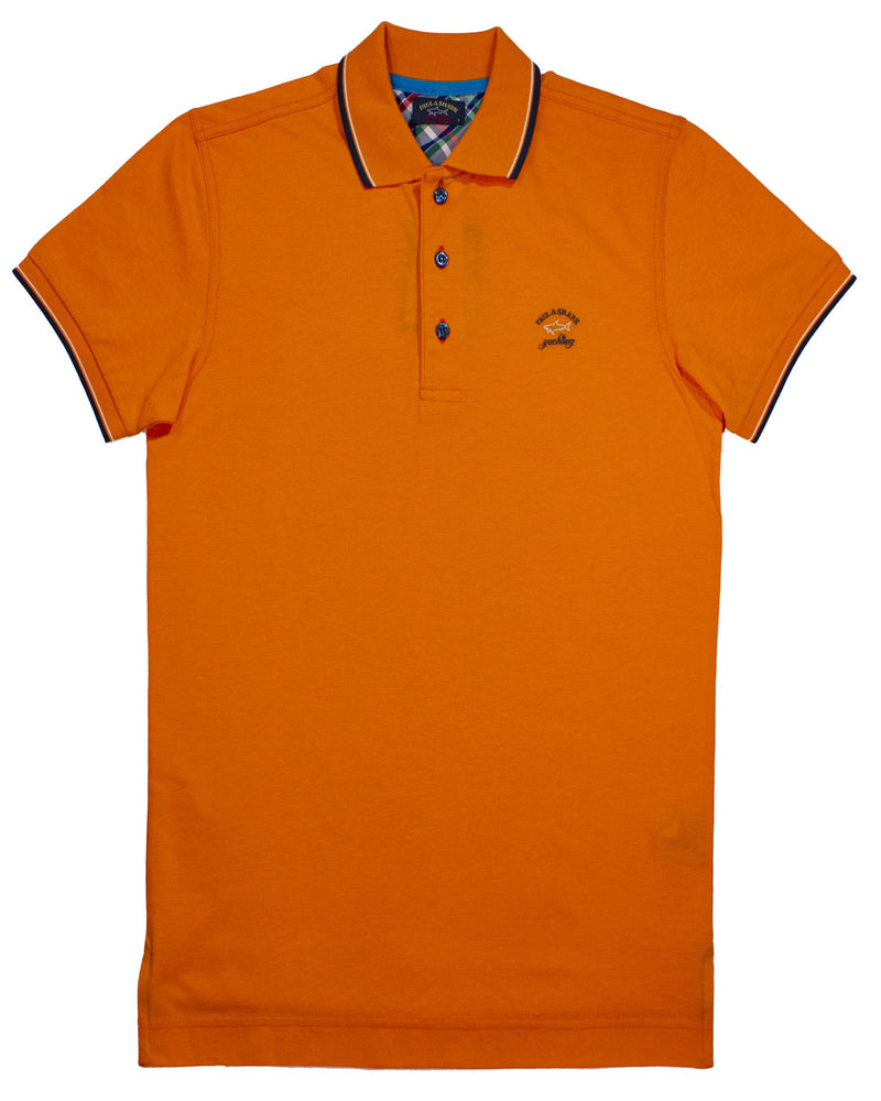 ORANGE PAUL&SHARK LOGO EMBROIDED POLO SHIRT