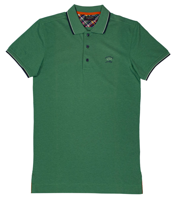 GREEN PAUL&SHARK LOGO EMBROIDED POLO SHIRT