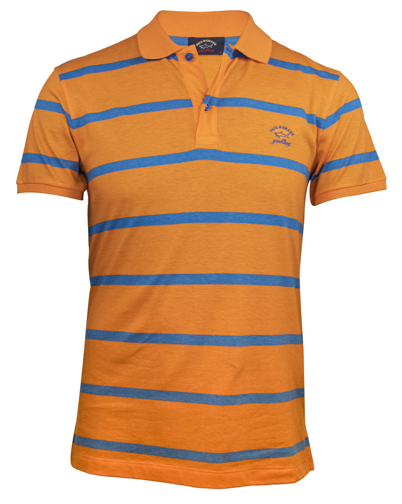 STRIPED ORANGE COTTON-PIQUE POLO T-SHIRT