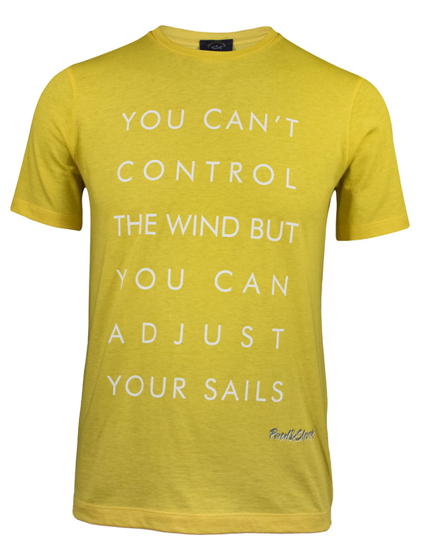 "ORGANIC COTTON T-SHIRT WITH ""YOU CAN'T CONTROL THE WIND"" PRINT"