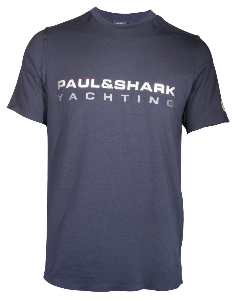 COTTON T-SHIRT WITH REFLECTIVE PRINTED PAUL&SHARK