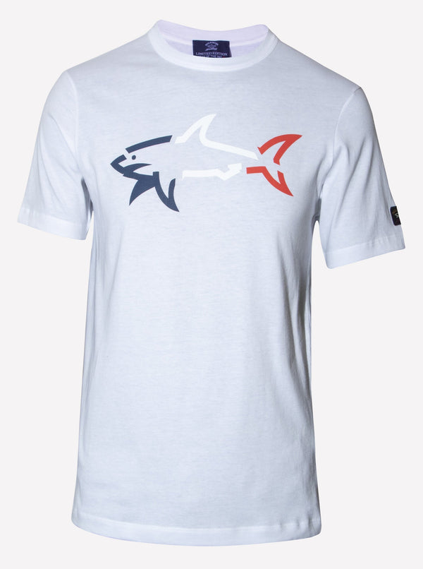 ORGANIC COTTON BASED T-SHIRT WITH PRINTED SHARK