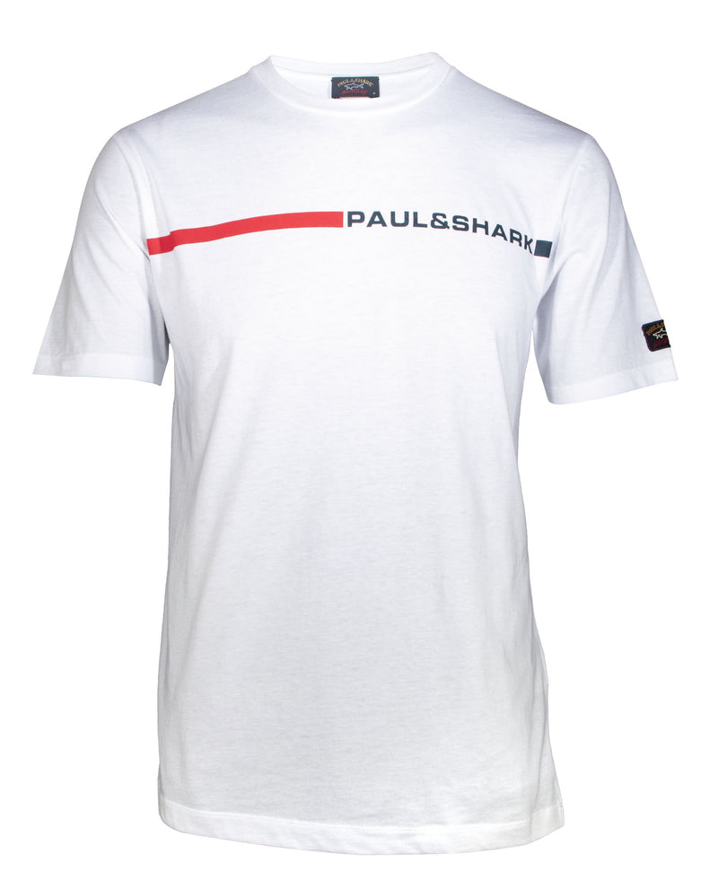 T-SHIRT WITH HORIZONTAL BAND AND PAUL&SHARK PRINT