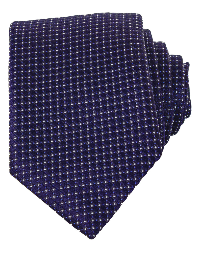 Men's Navy Blue 8cm Textured-Silk Tie