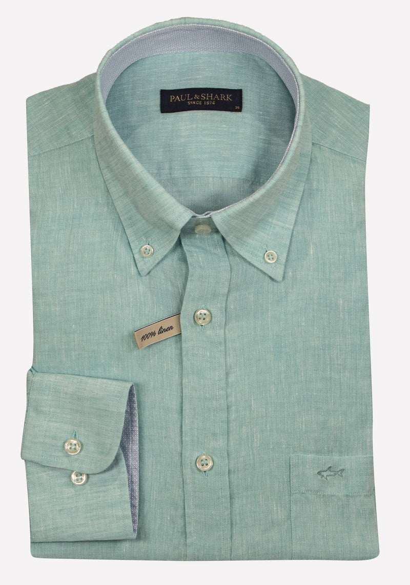 LINEN SHIRT WITH CONTRAST COLLAR DESIGN