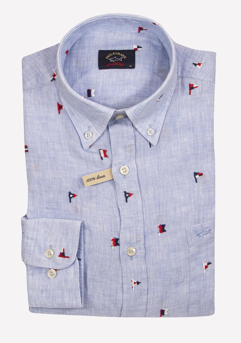 LINEN SHIRT WITH FLAG EMBROIDERY