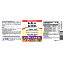 Load image into Gallery viewer, Probiotic 30 Billion by Webber Naturals, 8 strains, Microencapsulated, 30 Vegetarian Capsules