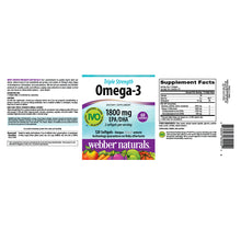 Load image into Gallery viewer, Triple Strength Omega-3, by Webber Naturals, 1800mg of EPA/DHA, Non-GMO, Ultra Purified, 120 softgels, 60 Servings