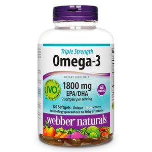 Triple Strength Omega-3, by Webber Naturals, 1800mg of EPA/DHA, Non-GMO, Ultra Purified, 120 softgels, 60 Servings