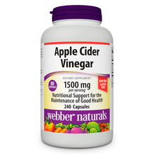 Load image into Gallery viewer, Apple Cider Vinegar, by Webber Naturals, 1500mg, Non-GMO, Gluten Free, 240 Capsules