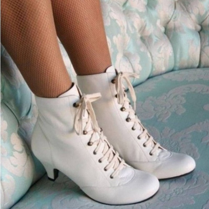 Details about  /Women Kitten Ankle Boots Lace Up Vintage Mid Heel Ladies Gothic Victorian Shoes