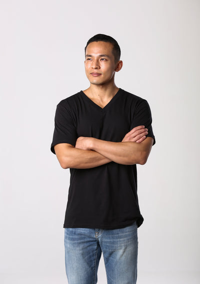 Men's 100% Organic V Neck T-shirt - Black