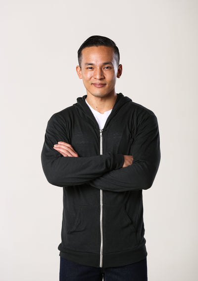 Men's Sustainable Lightweight Jersey Hoodie - Black