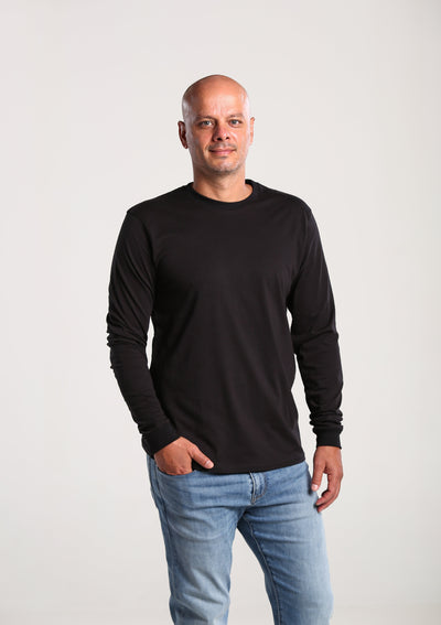 Men's Long Sleeve Black 100% Organic T-Shirt