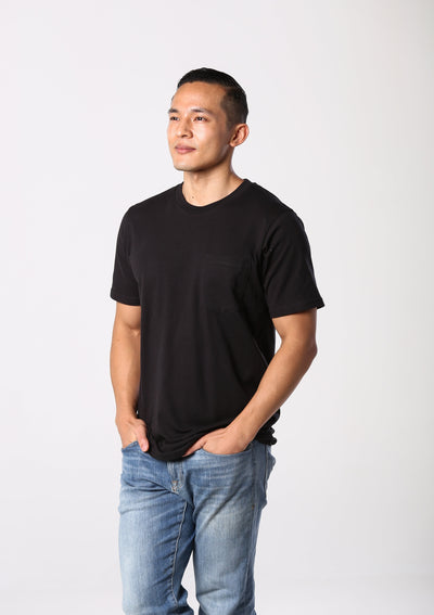 Mens 100% Organic Cotton Pocket T-Shirt - Black