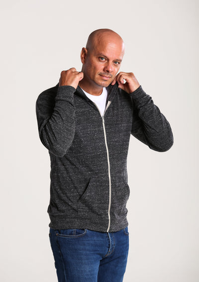 Men's Sustainable Lightweight Jersey Hoodie - Charcoal