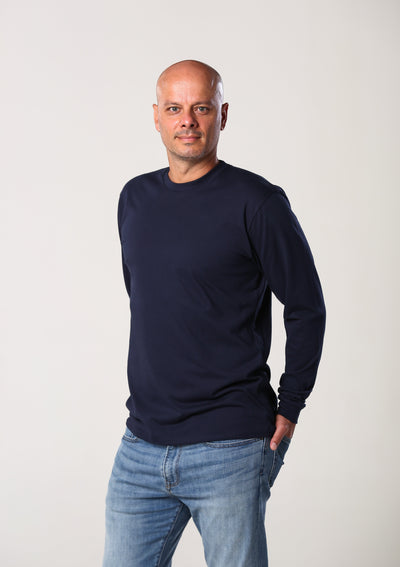 Men's 100% Organic Long Sleeve T-Shirt - Navy