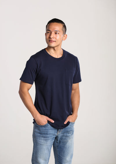 Mens 100% Organic Cotton Pocket T-Shirt - Navy