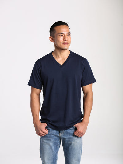 Men's 100% Organic V Neck T-Shirt - Navy