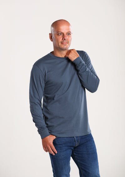 Men's 100% Organic Long Sleeve T-Shirt - Ocean Blue