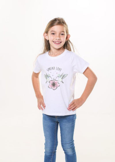 Girl in white organic t-shirt with spread the love written on.