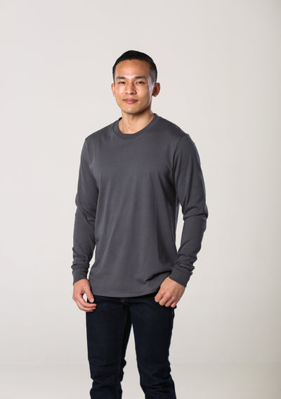 Men's 100% Organic Long Sleeve T-Shirt - Slate Grey