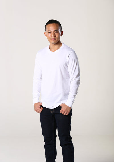 Men's 100% Organic Long Sleeve T-Shirt - White