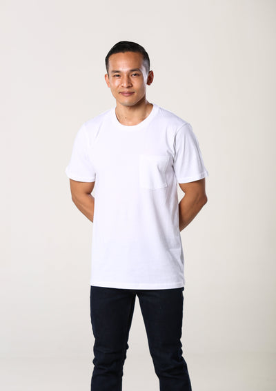 Mens 100% Organic Cotton Pocket T-Shirt - White