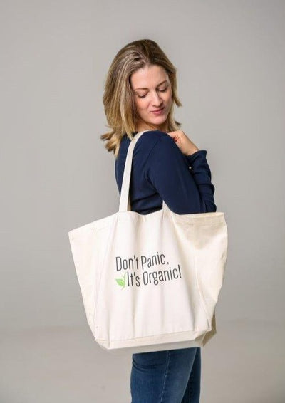 Don't Panic It's Organic Tote Bag made with 100% organic cotton