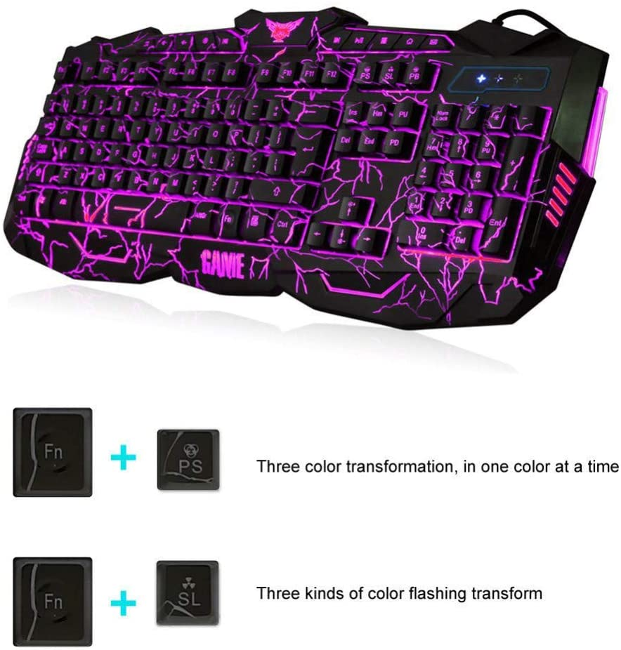 V100 Gaming Keyboard, 104 Keys Mechanical Computer Keyboard USB Wired LED Gaming Wired Mechanical Keyboard Real RGB Blue Switch LED Backlit Anti-Ghosting for Game + Gaming Mouse