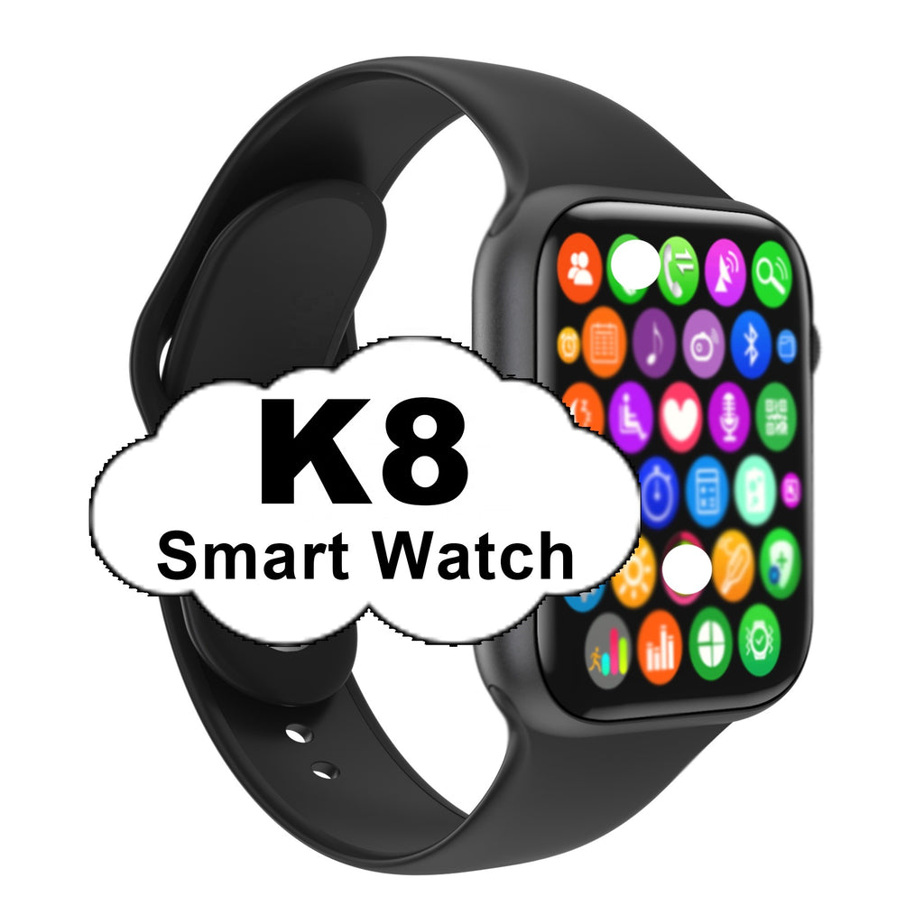 K8 Smart Watch 1.78 Inch HD Screen For iOS & Android Phone Heart Rate Blood Pressure Smartwatch