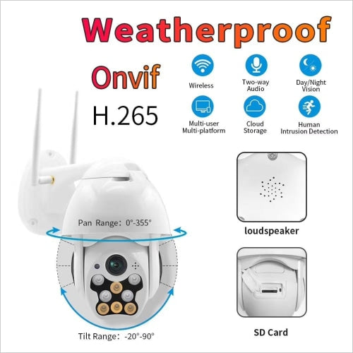 Mini Wifi Ptz Dome Color Vision Motion Detection Camera 2mp 1080p Hd