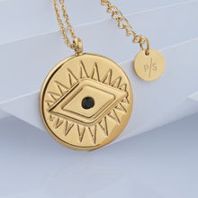 Load image into Gallery viewer, 18k Gold Plated Evil Eye Coin Necklace