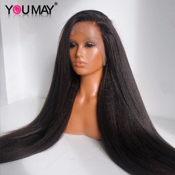 YOU MAY Kinky Straight Human Hair Wig