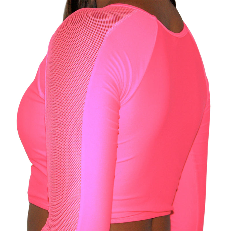 AUDREY BIKINI TOP - LONG SLEEVE NEON PINK AND NET CROP BIKINI TOP