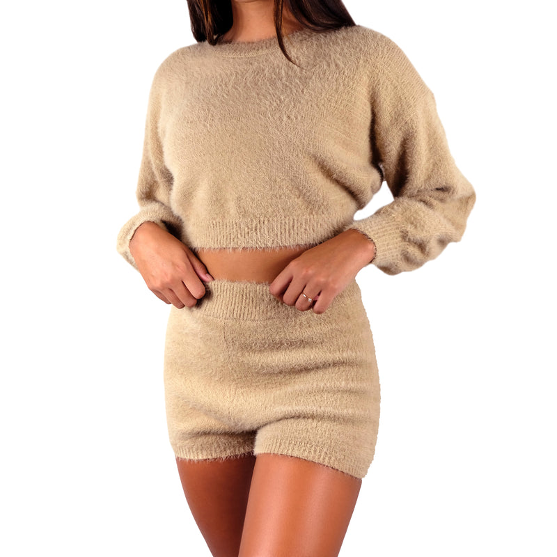 Butta Set - FUZZY BROWN MATCHING LONG SLEEVE CROP TOP AND HIGH WAISTED SHORTS