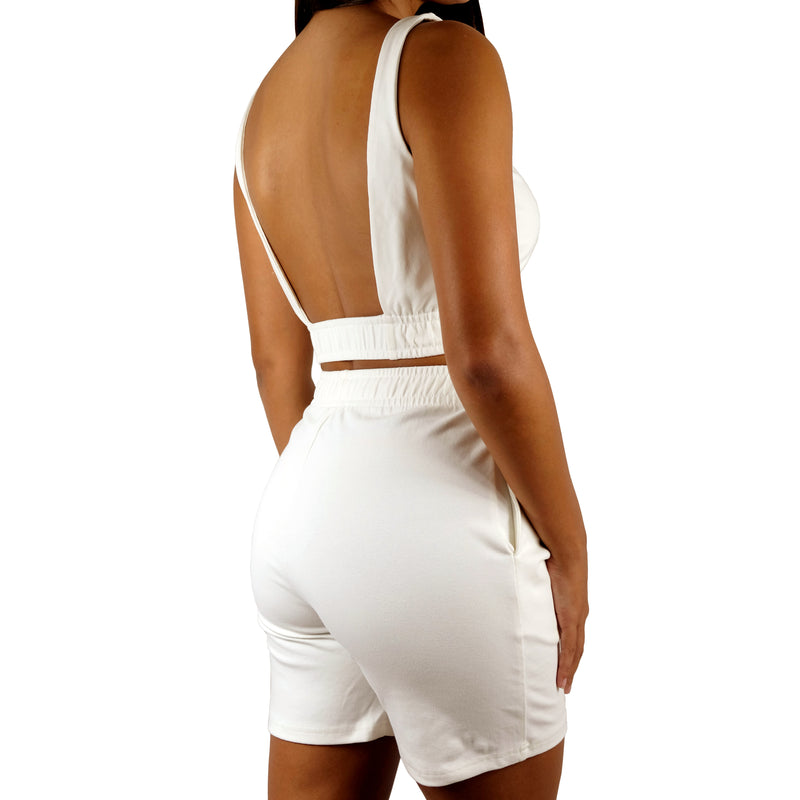 OFF WHITE - CROP TANK TOP AND HIGH-RISE MID LENGTH BIKER SHORT LOUNGE SET