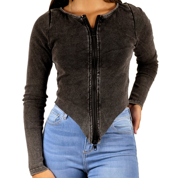 ZIP IT - RIBBED LONG SLEEVE TAPERED FULL-ZIP BLACK WASHED SWEATER