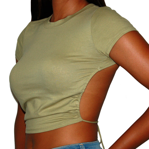 BACKLESS SAGE - SHORT SLEEVE SAGE BACK CUT-OUT TIED CROP T-SHIRT