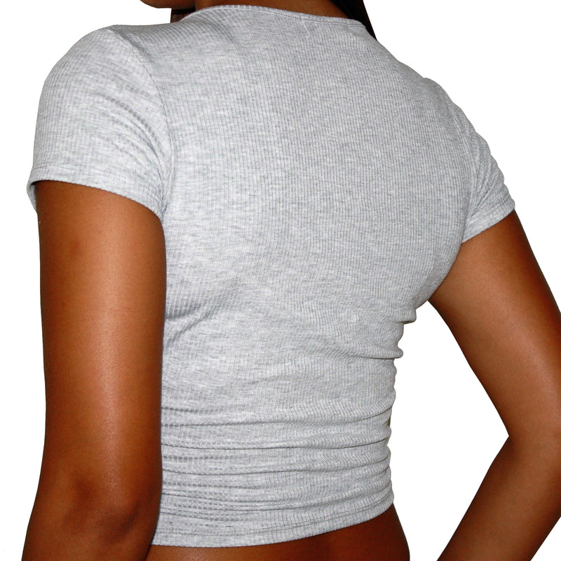 OVERLAP CROP - RIBBED SHORT SLEEVE GRAY V-NECK WRAP CROPPED T-SHIRT