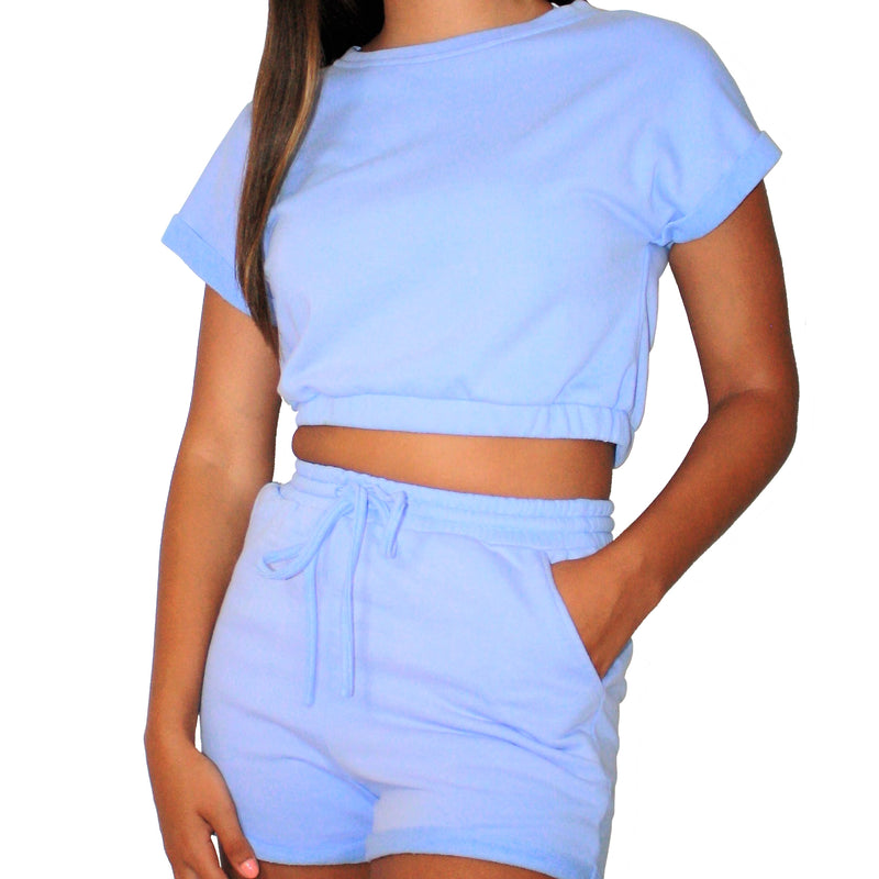 PURP LOUNGE SET - FRENCH TERRY PURPLE CROP TOP AND DRAWSTRING SHORT LOUNGE SET