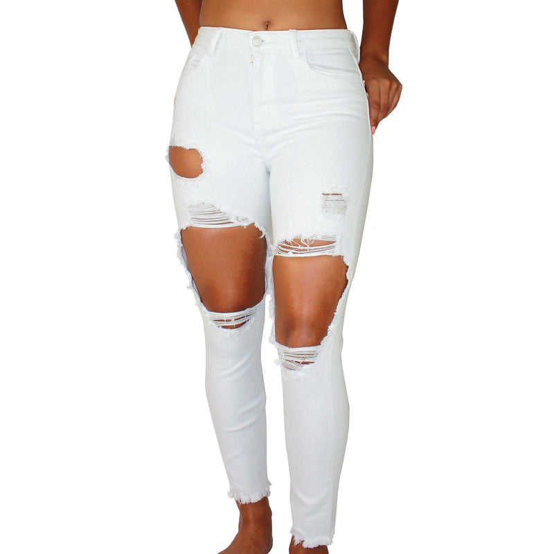 WHITE DESTROYED JEANS - MID-RISE DESTROYED WHITE JEANS