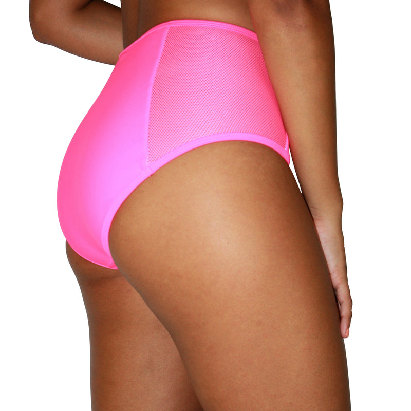 AUDREY BIKINI BOTTOM - HIGH-RISE FULL COVERAGE NEON PINK AND NET BIKINI BOTTOM