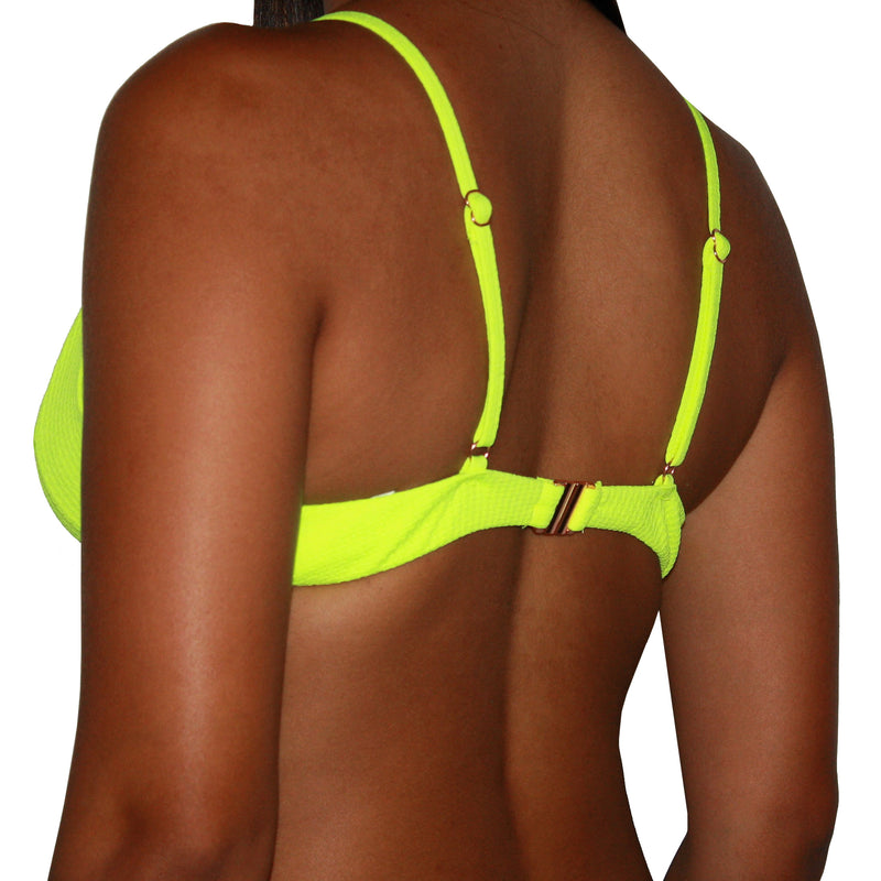 PALMS SPRINGS TOP - KEY-HOLE WIRE PADDED RIBBED BIKINI TOP