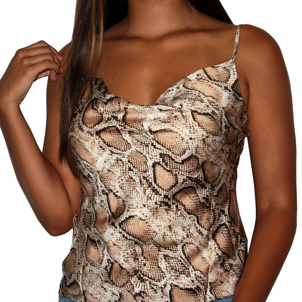 VENOM - COWL-NECK TAUPE AND BLACK SNAKE PRINT TOP
