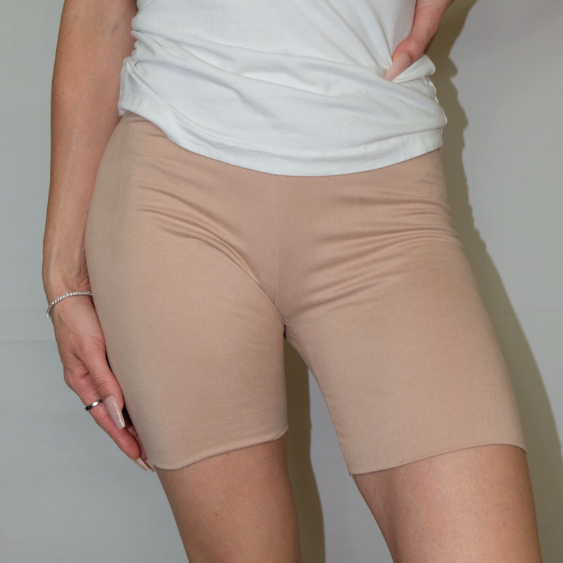 MOCHA BIKERS - MID-RISE DOUBLE LAYERED NUDE BIKER SHORTS