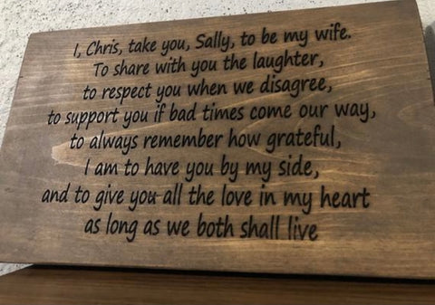 Personalized wedding vows sign